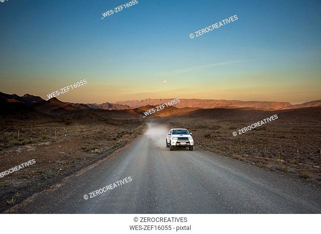 South Africa, Cape Town, Car on dirt road