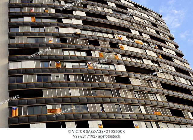 Building with 'Estelades' Catalan independentist flags. Barcelona, Catalonia, Spain