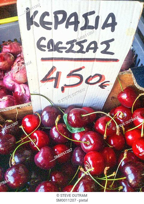 Fresh Cherries on display at a Greengrocers, Crete, Greece