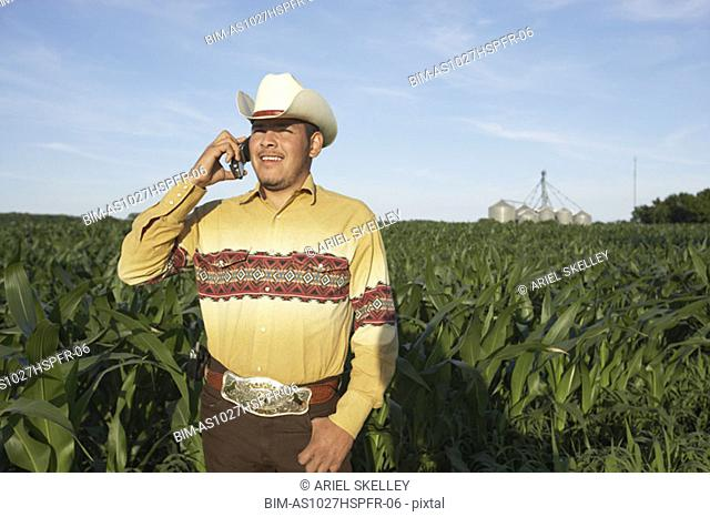 Cowboy on mobile phone