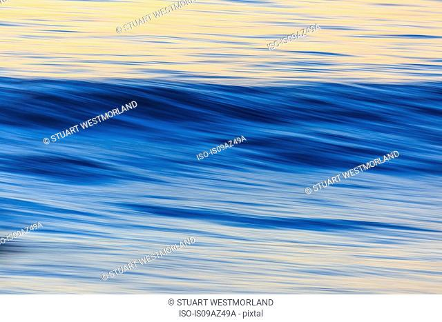 Pacific Ocean wave patterns after sunset, Pacific Beach, San Diego, CA, USA