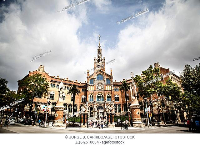 Saint Pau hospital entrance located in Barcelona, Spain
