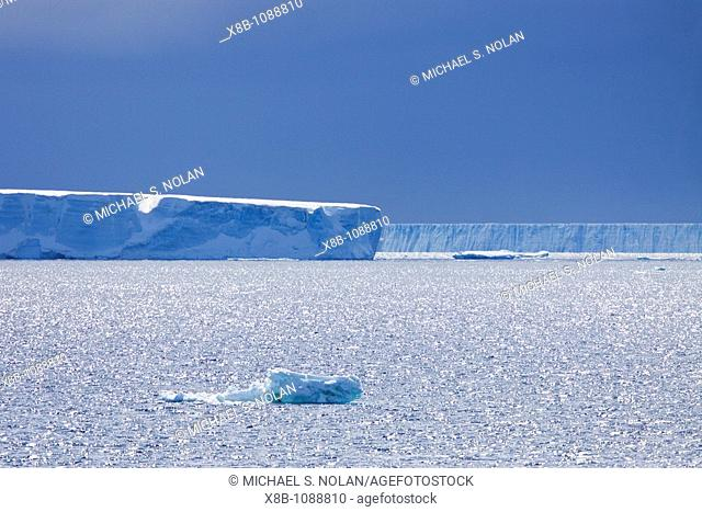 Huge tabular icebergs and smaller ice floes in the Weddell Sea, on the eastern side of the Antarctic Peninsula  MORE INFO The Weddell Sea is often blocked to...