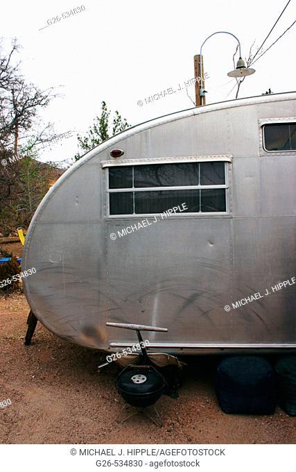 USA, Arizona, Bisbee, old Airstream trailer