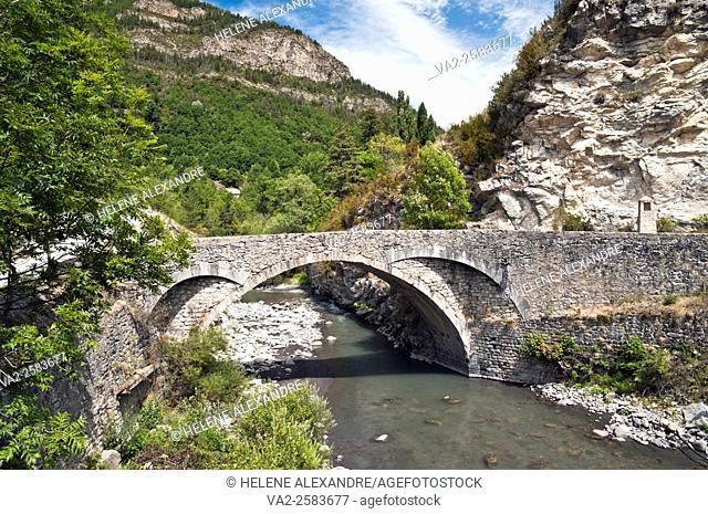 Stone bridge over Verdon river near Colmars-les-Alpes, Alpes-de-Haute-Provence (04), Provence-Alpes-Cote d'Azur region, France