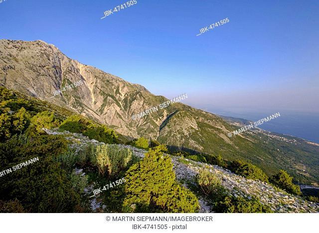 Maja e Çikës, view from Llogara Pass, Ceraunian Mountains, near Dhërmi, Albanian Riviera, Qark Vlorë, Albania