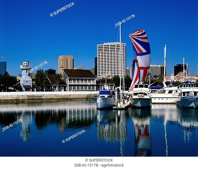 Boats docked in a harbor, Seaport Village, San Diego, California, USA