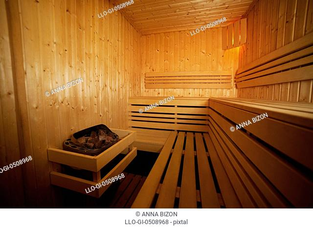 Interior of health wooden spa Debica, Poland