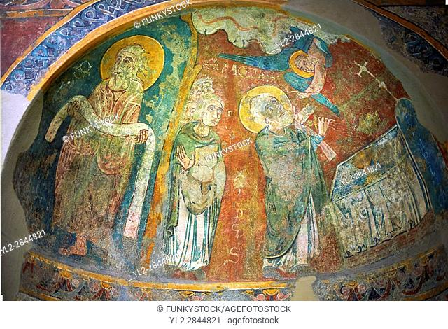 Romanesque frescoes of Apse of St. Steven of Andorra (Sant Esteve) from the church of Sant Esteve dâ. . Andorra, painted around 1200-1210, Andorra la Vella