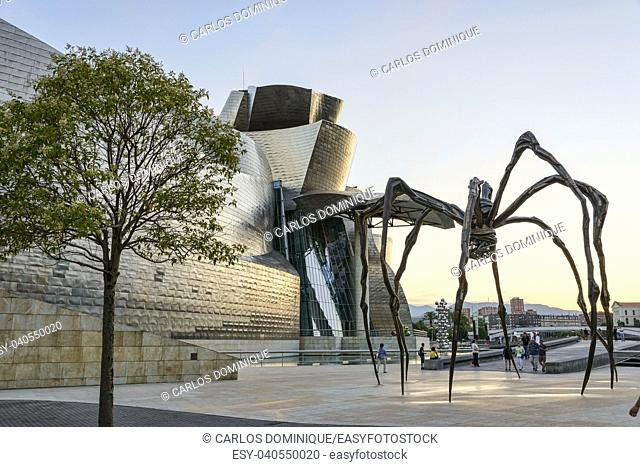Giant spider sculpture in front of the Guggenheim Bilbao Museum