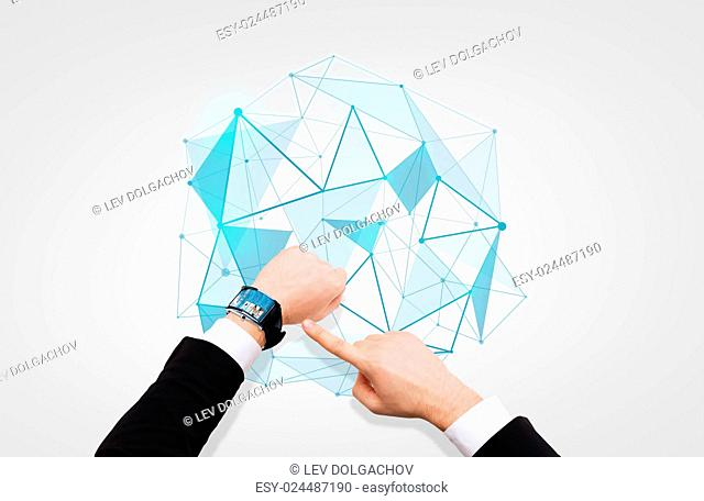 business, media, network, people and modern technology concept - close up of businessman pointing to smart watch at his hand with news on screen over low poly...
