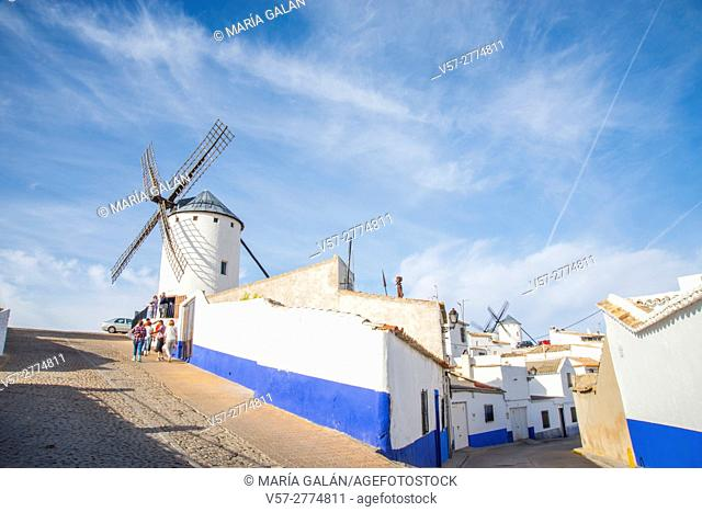 Windmills and Albaicin district. Campo de Criptana, Ciudad Real province, Castilla La Mancha, Spain