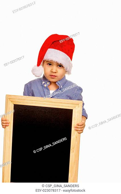 little boy with santa claus hat