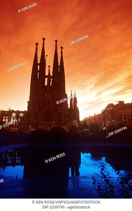 Sagrada Familia Church at Dusk, Barcleona, Spain