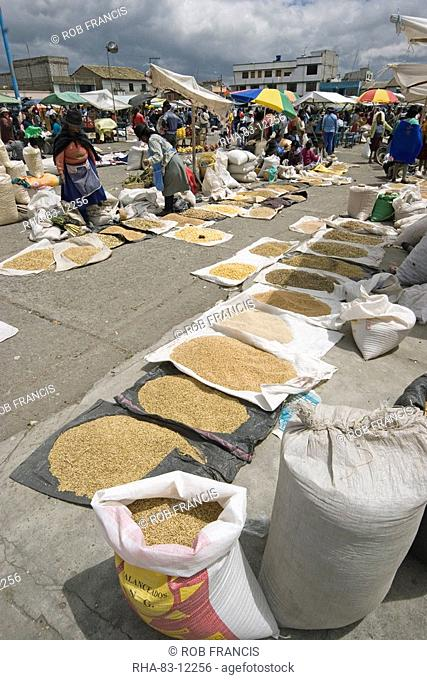 Staples like rice and pulses for sale at the huge market in Saquisili, north of Latacunga, Cotopaxi Province, Central Highlands, Ecuador, South America