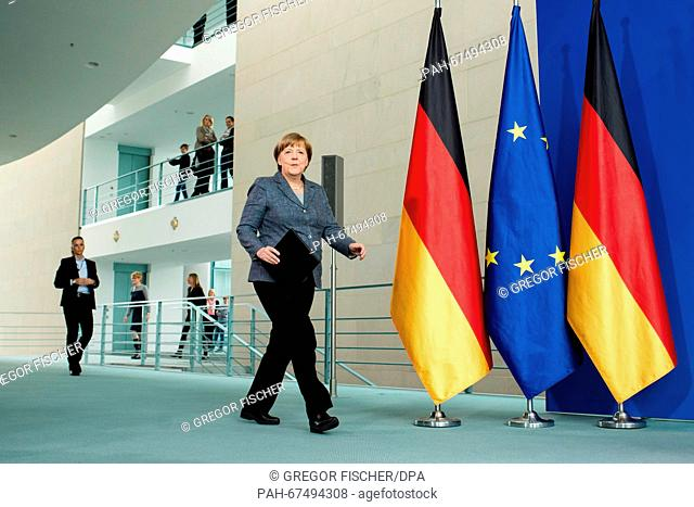 German chancellor Angela Merkel (CDU) arrives to hold a speech on the scandal surrounding TV host Jan Boehmermann at the Federal Chancellery in Berlin, Germany