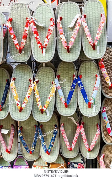 Japan, Honshu, Tokyo, Asakusa, Sensoji Temple aka Asakusa Kannon Temple, Nakamise Shopping Street, Shop Display of Traditional Sandals