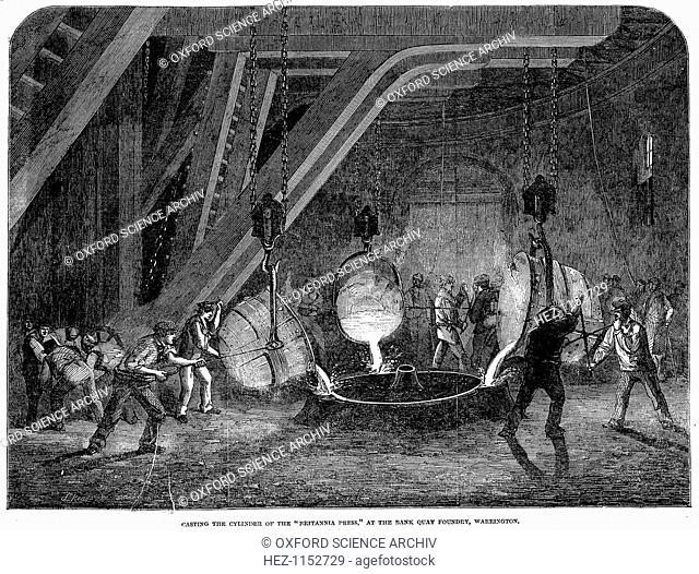 'Casting the cylinder of the 'Britannia Press' at the Bank Quay Foundry, Warrington', 1851. Casting the cylinders for the hydraulic press (lift) used to raise...