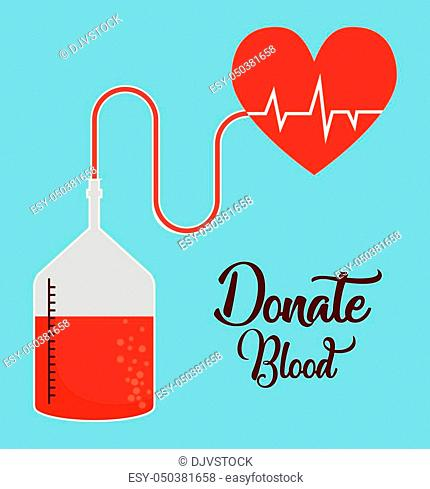 blood bag and cardio heart icon over blue background colorful design vector illustration