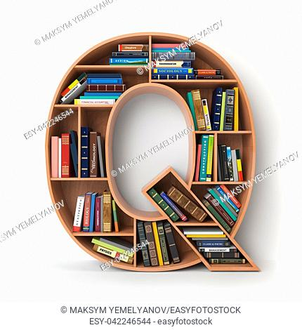 Letter Q. Alphabet in the form of shelves with books isolated on white. 3d illustration