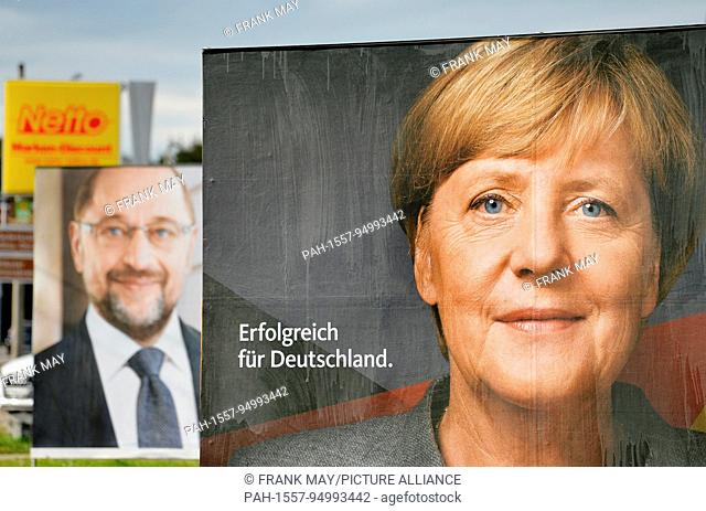 Election posters for the elections to the german Bundestag, Germany, city of Nordhausen, 19.September 2017. Photo: Frank May | usage worldwide