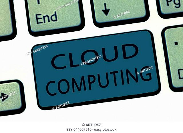 Word writing text Cloud Computing. Business concept for use a network of remote servers hosted on the Internet
