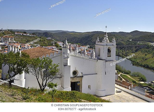 Main Church of Mertola, originally a mosque, overlooking the Guadiana River, Alentejo region, Portugal, southwertern Europe