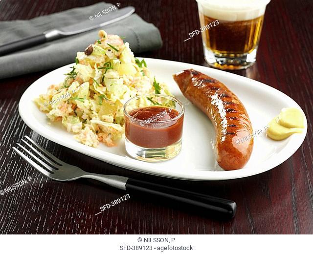 Sausage with salad, ketchup and mustard