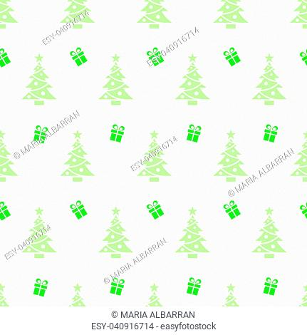 Christmas seamless pattern with trees and gifts on a white background. Vector illustration
