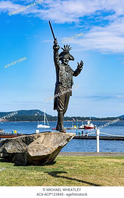 Statue of former mayor Frank Ney in pirate costume, Maffeo Sutton Park, Nanaimo, British Columbia, Canada