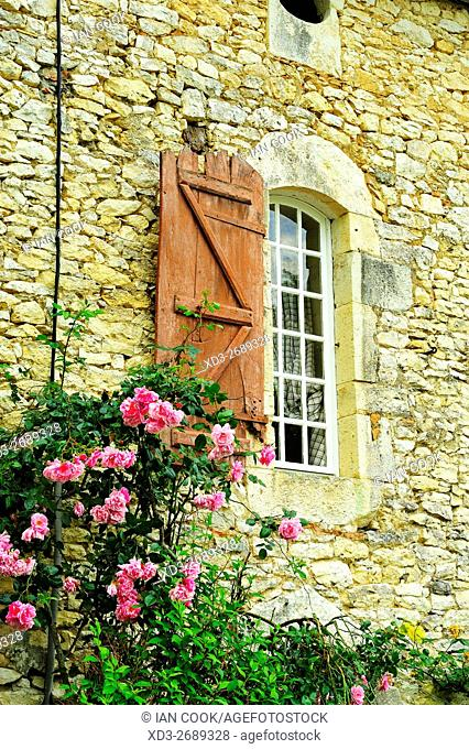 shuttered window and roses, Bournel, Lot-et-Garonne Department, Aquitaine, France