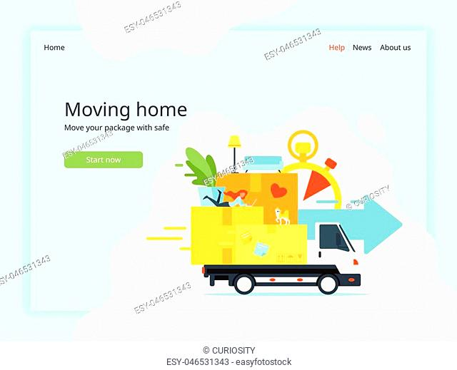 Vector flat style concept for moving home and relocation. Woman silhouette lies on paper boxes. Minimalism design with exaggerated objects