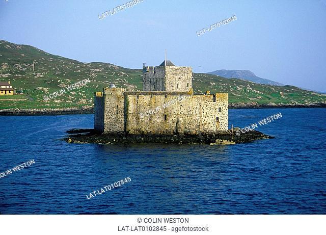 Western Isles. Castle on island in bay