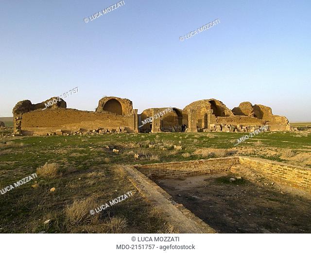 Umayyad Palace of Mshatta (Qasr al-Mshatta), 743, 8th Century A.D., stone building. Jordan, Amman. Whole artwork view. Remains of the main room from the gate;...