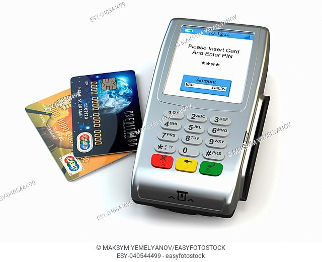 POS terminal with credit cards isolated on white background. 3d illustration