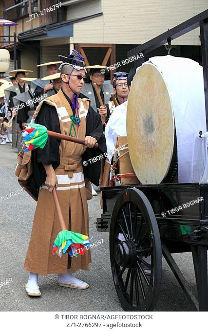 Japan, Gifu, Takayama, festival, procession, people, drummer,