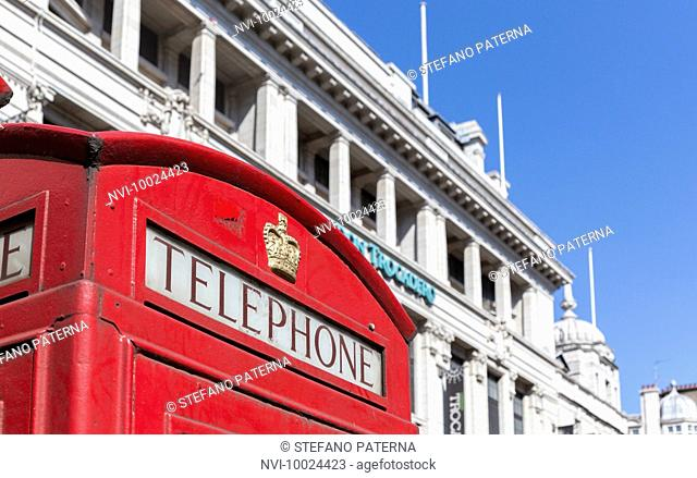 Telephone booth, Piccadilly Circus, London, United Kingdom
