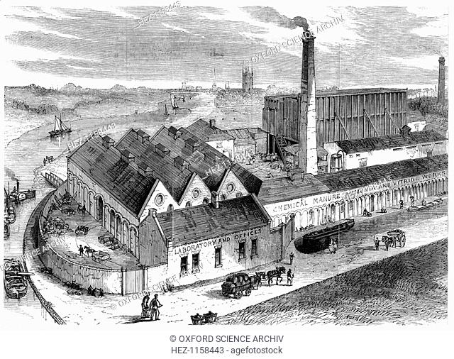 Webb's chemical factory, Diglis, Worcestershire, 1869. The tall building to right behind chimney contains Gay-Lussac's lead chambers for the production of...