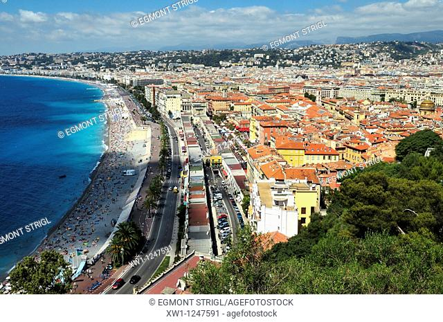view over Baie des Anges and Nice, Nizza, Alpes Maritimes, Provence, Paca, France, Europe