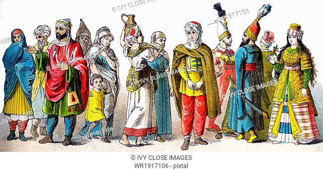 These figures represent Moors and Turks in the Ottoman Empire, all in 1500. They are, from left to right: a woman, man, king, man, boy, three women, man
