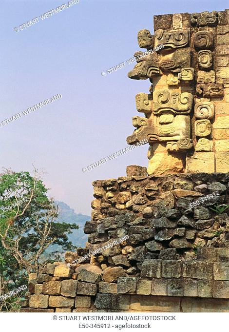 Temple detail. Mayan ruins of Copan. Honduras