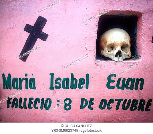 The skull and bones of a person during Day of the Dead in Pomuch mixes ancient Pre-Hispanic traditions with the European tradition of the Catholic All Souls Day