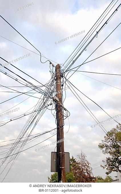 Telephone pole with tangled cables, Bucharest, Romania