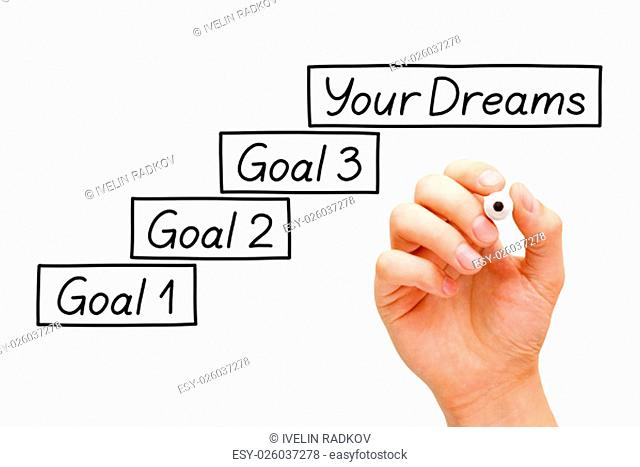 Move towards your dreams with incremental smaller goals. Hand drawing Goals Setting concept with marker on transparent wipe board