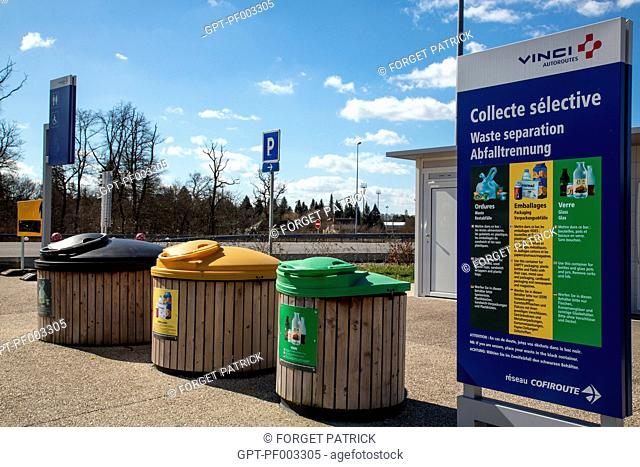 RECYCLING BINS FOR GARBAGE AT A MOTORWAY REST STOP NEAR ORLEANS (45) LOIRET, CENTRE, FRANCE