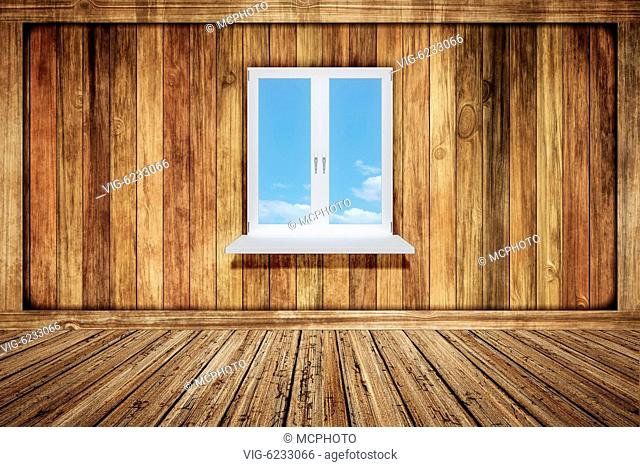 2d illustration of an empty wooden room with a window - 01/01/2018