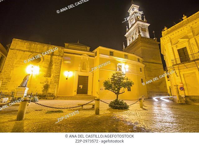 Church of Santa Maria de la Asuncion by night Carmona, Spain on October 8, 2017