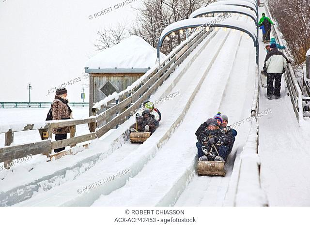 270-foot toboggan slide on Dufferin Terrace behind Chateau Frontenac in Old Quebec City, Quebec, Canada