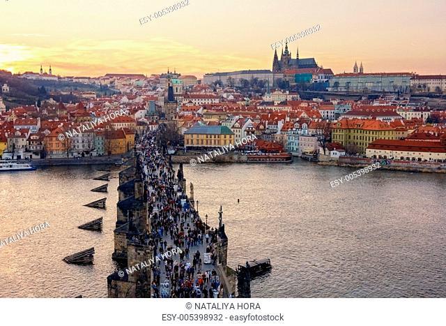 aerial view of Charles Bridge and Prague Castle, Czech Republic