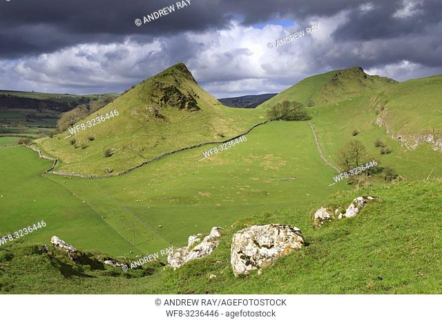 Chrome and Parkhouse Hills in the Peak District National Park captured from Hitter Hill on a morning in late April
